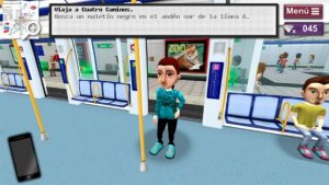 Image of an avatar traveling in the game Downtown, A Subway Adventure